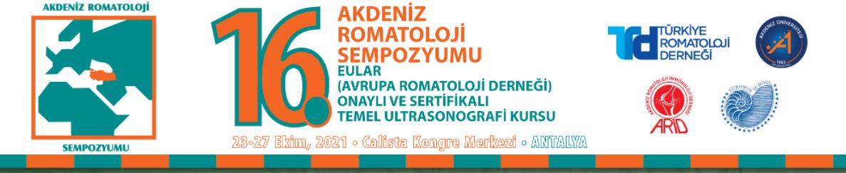 16. Akdeniz Romatoloji Sempozyumu & Basic Ultrason Kursu