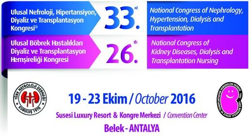 33. Ulusal Nefroloji, Hipertansiyon, Diyaliz ve Transplantasyon Kongresi